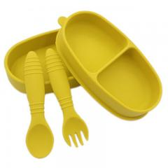 Children's silicone divided dinner suction plate spoon fork set